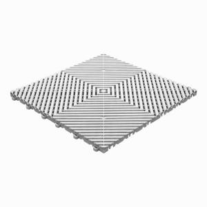 Klickfliese offene Rippenstruktur flach weiss-alu