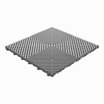 Klickfliese offene Rippenstruktur abgerundet grau-alu